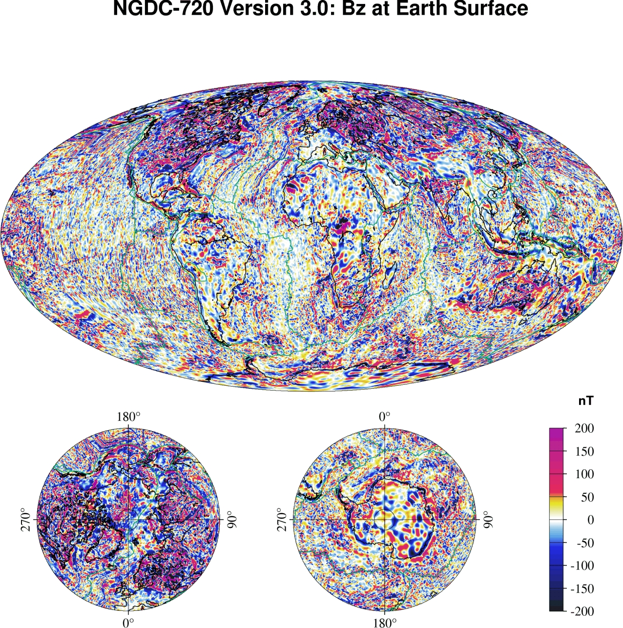 Magnetic crustal field model ngdc 720 ngdcaa color map of earths crustal magnetic field gumiabroncs Image collections