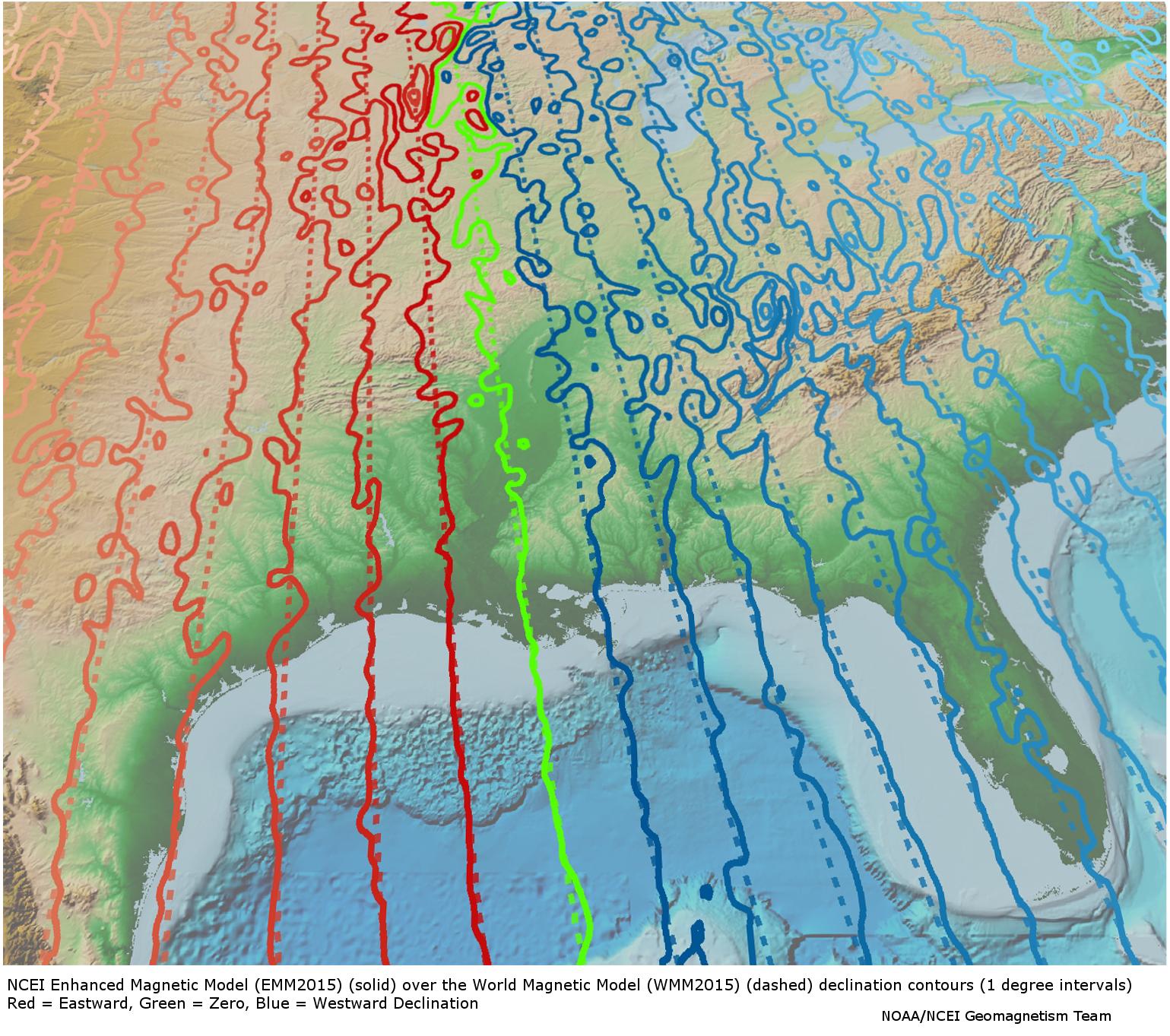 Magnetic Crustal Field Model  EMM2015  NCEI