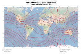 World magnetic model ncei wmm 2015 total intensity map gumiabroncs Gallery