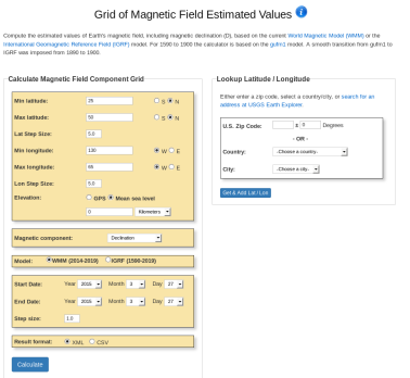 Earth's Magnetic Field Calculators - Instructions | NCEI