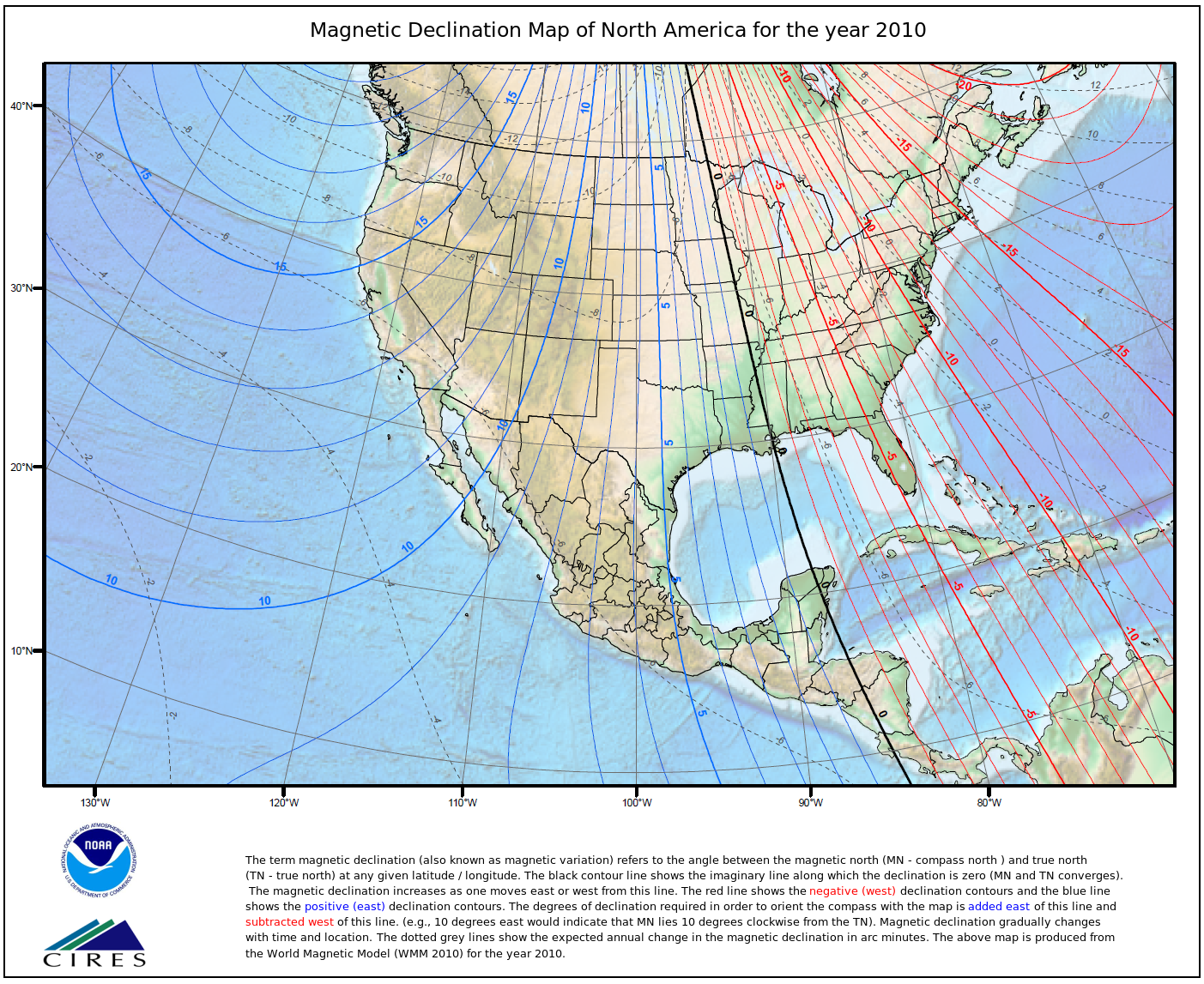 Magnetic Declination map for North America for the year 2010