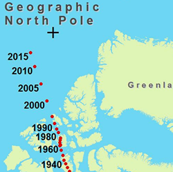 Map of the magnetic north pole and its movement pictures to pin on