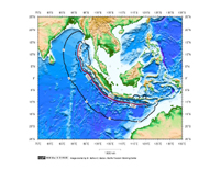 1 hour Tsunami travel time map for the Sumatra-Andaman coast seismic zone