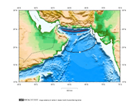 1 hour Tsunami travel time map for the Makran Coast seismic zone