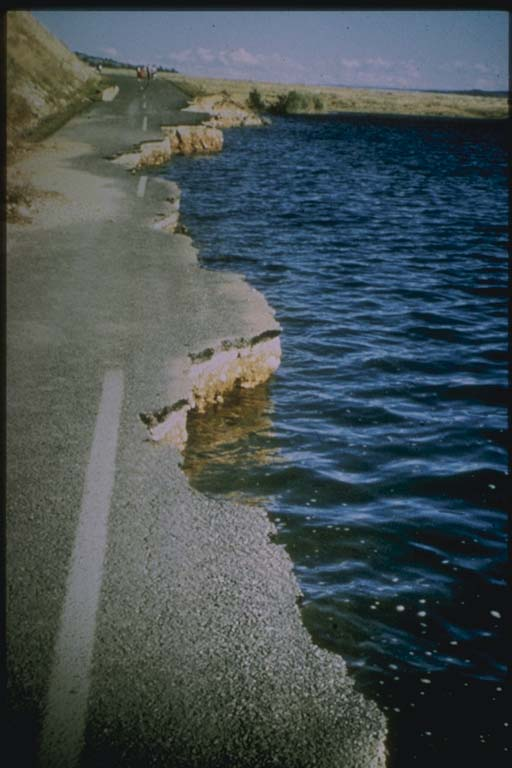 Slumping of Highway into Hebgen Lake, Montana