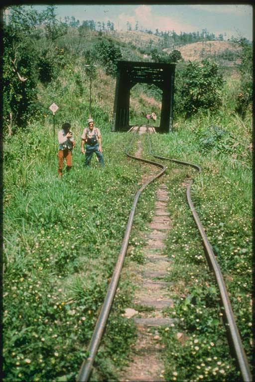 Twisted Railroad Tracks across Fault, Guatemala