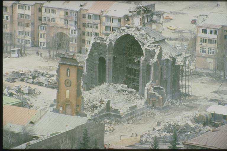 Collapse of Church of the Holy Saviour of All, Leninakan, Armenia