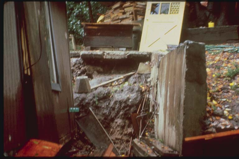 House Damage, Santa Cruz Mountains, California