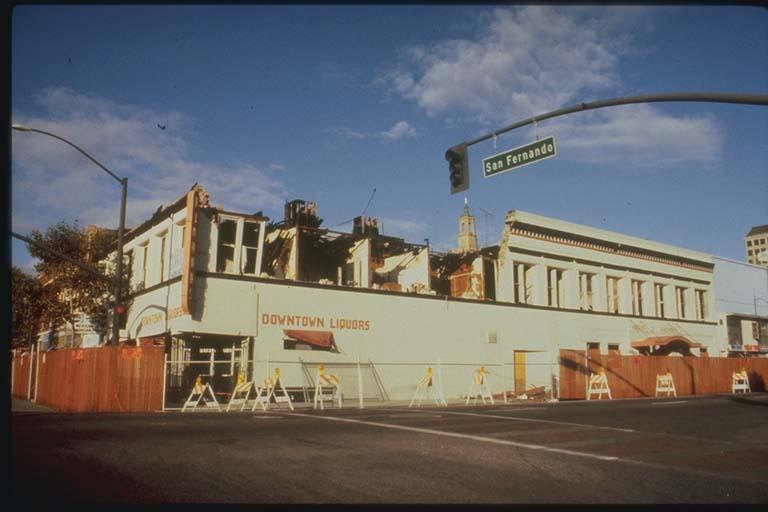 Damage to Parapet, Downtown Liquors, San Jose, California