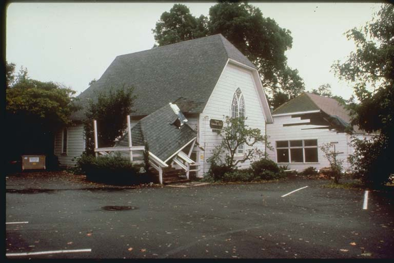 Damage to Church, Santa Cruz Mountains, California