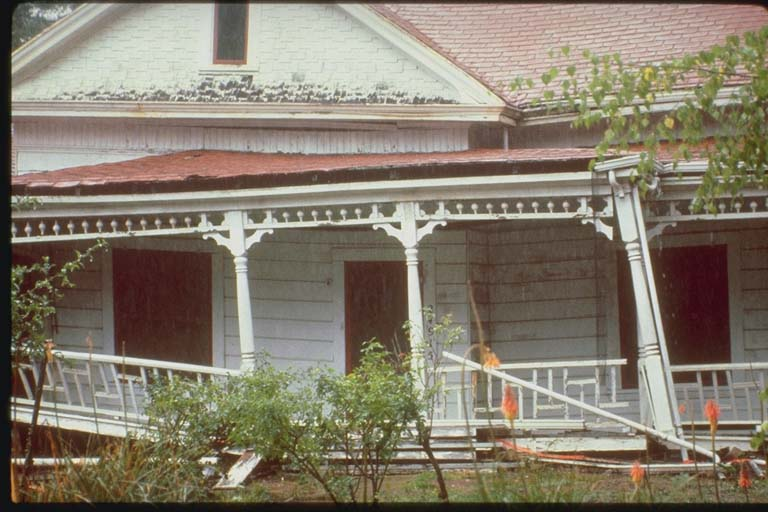 Porch Damage, Wood Frame House, Santa Cruz Mountains, California