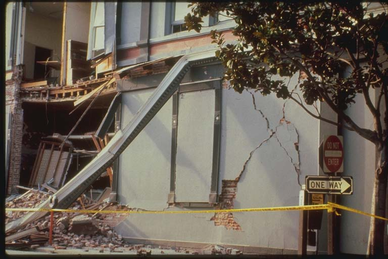 Close-up View of Damage to Pacific Garden Mall, Santa Cruz, California