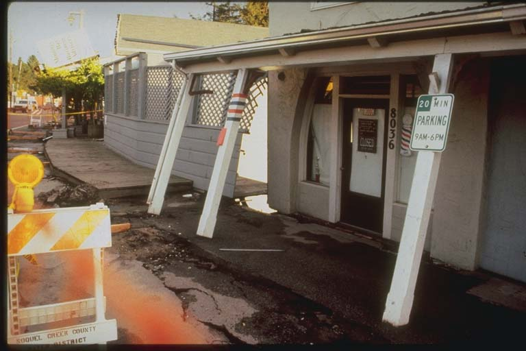 Damage to Shops in Aptos, California