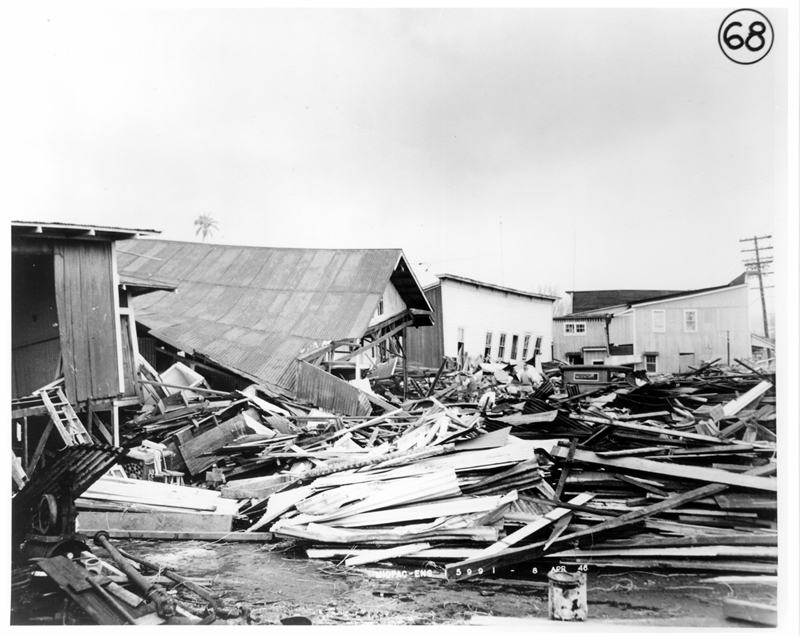 Wreckage of buildings along Kamehameha Avenue