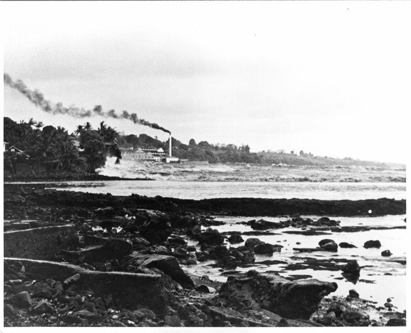 Wave advancing on Hilo Sugar Mill