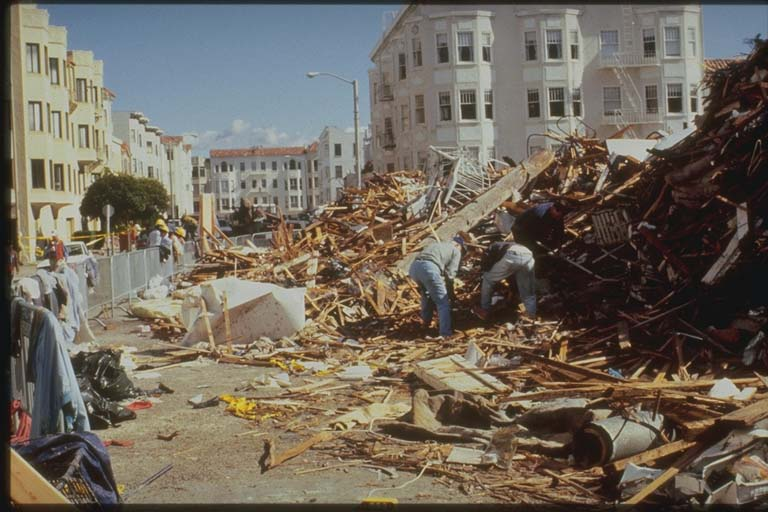 View of Damage along Jefferson Street, San Francisco