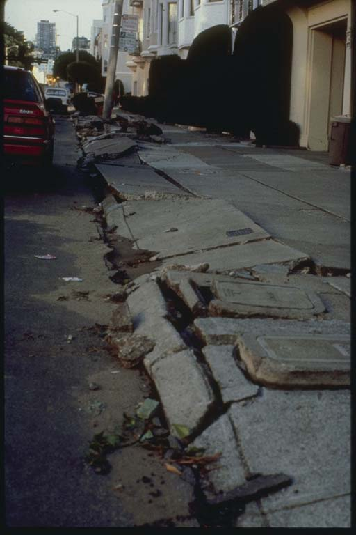 Sidewalk Damage Produced by Liquefaction, Marina District, San Francisco