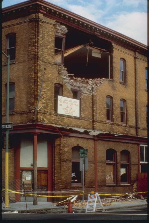 Damage to Top Floor of Clay Building, Oakland, California