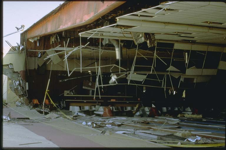 Damage to bowling alley near Landers epicenter