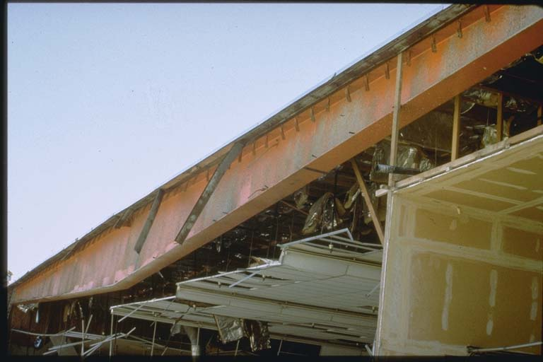 Detail of damage to bowling alley