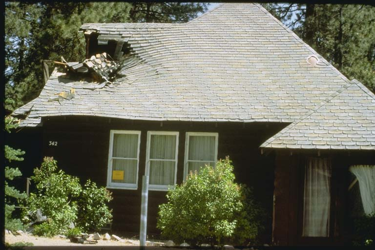 Collapse of a chimney on home at Big Bear City