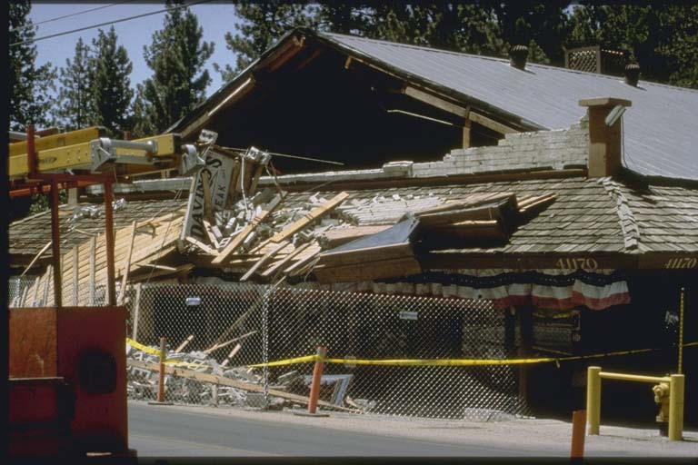 Roof damage to restaurant in Big Bear City