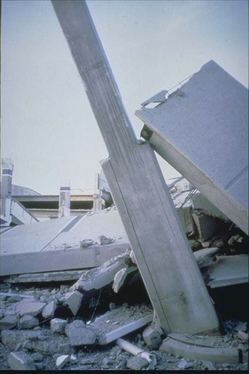 Second view of damage to parking structure
