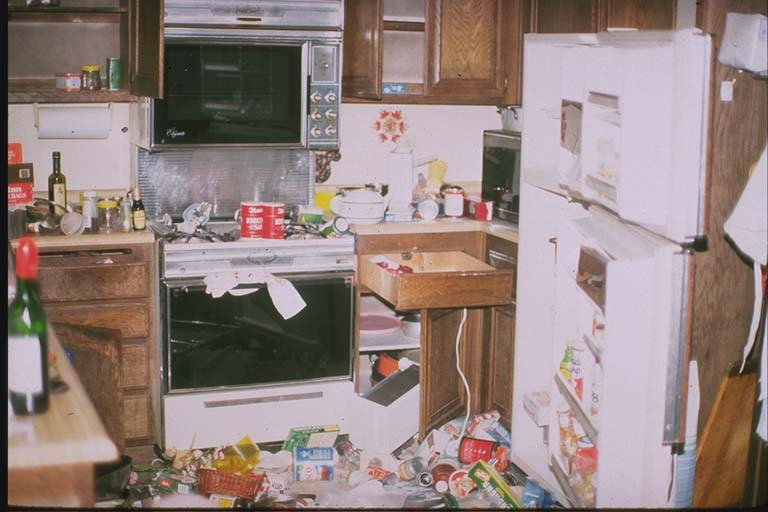 Second view interior of damaged apartment building