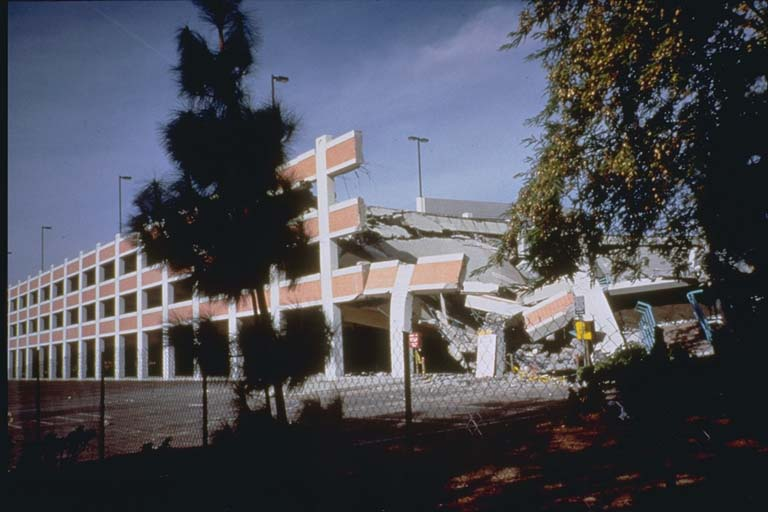 Partially collapsed parking structure, Cal State Univ.