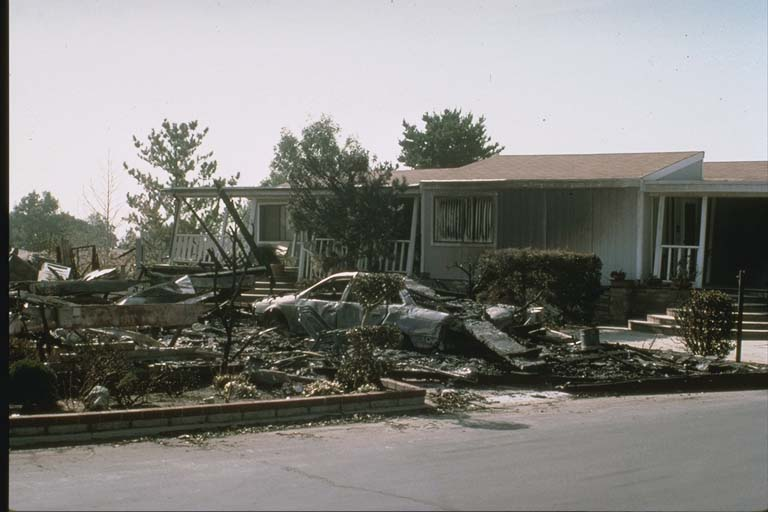 Damage in Sylmar Mobile Home Park