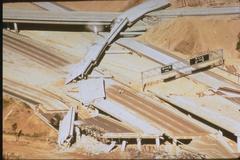 Damage at I-5 and I-210 Freeway Interchange (1971)