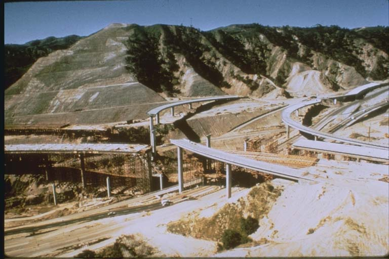 Damage at I-5 and C-14 Freeway Interchange (1971)