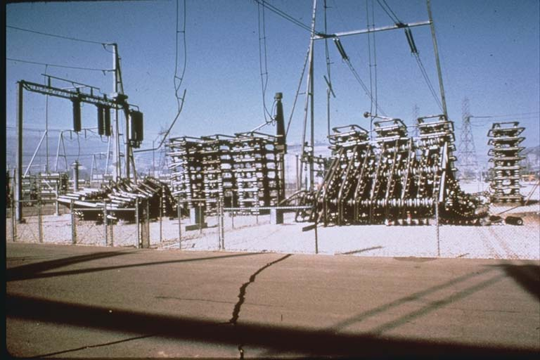 Collapsed condenser banks at the Sylmar Converter Station (1971)