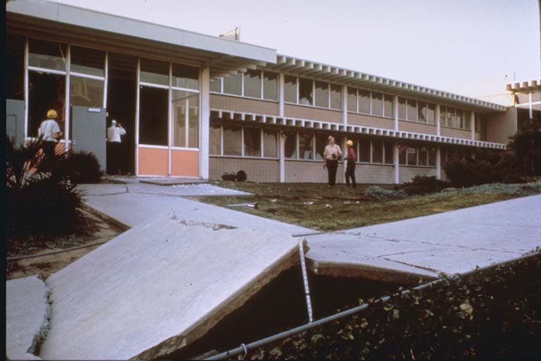 Buckled sidewalks in front of Juvenile Hall (1971)