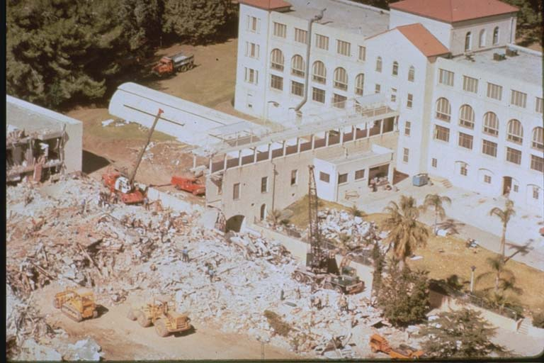 Aerial view of the damage to the San Fernando Veterans Administration Hospital and complex (1971)