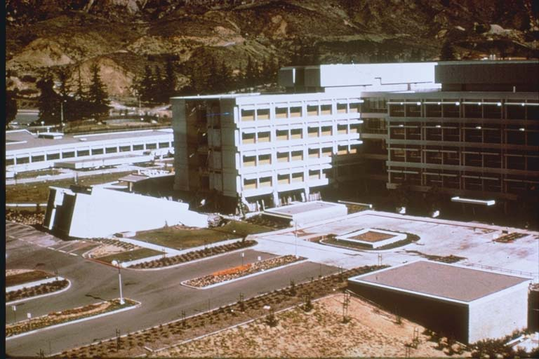 Aerial view of damaged Olive View Hospital (1971)