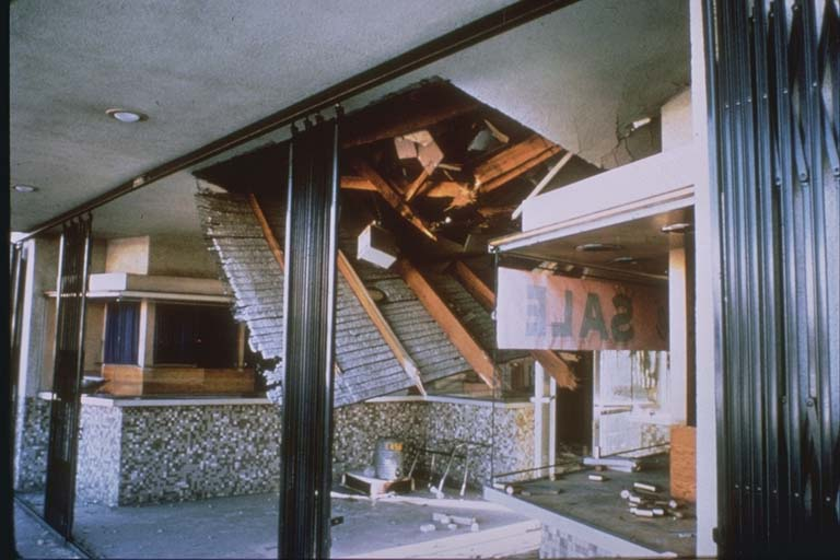 Interior damage to a building in the San Fernando Mall (1971)