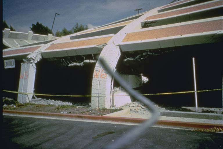 Collapsed parking structure at California State University in Northridge (1994)