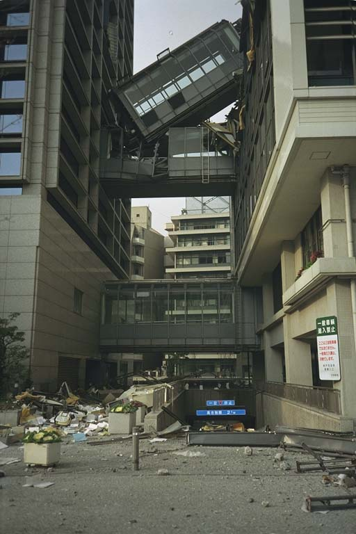 Collapsed walkway between two buildings