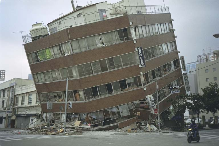 Office building with partially destroyed first floor