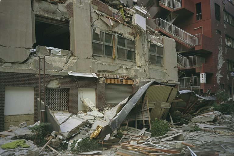 Completely destroyed apartment complex