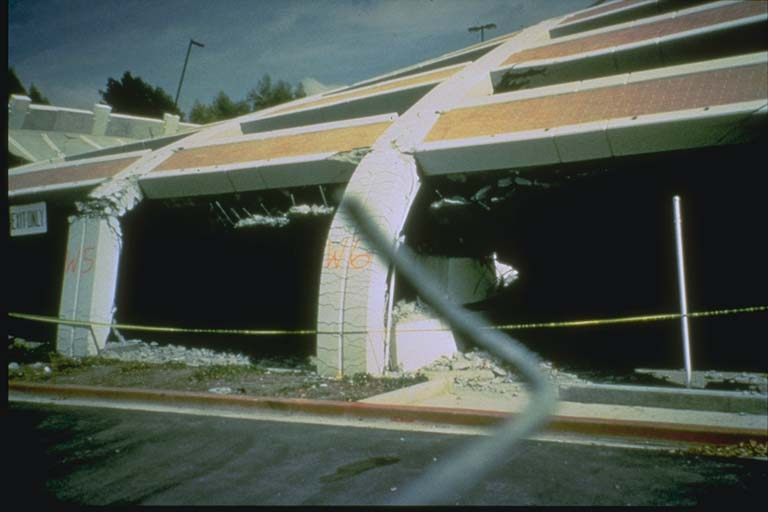 Parking garage columns damaged in Northridge earthquake