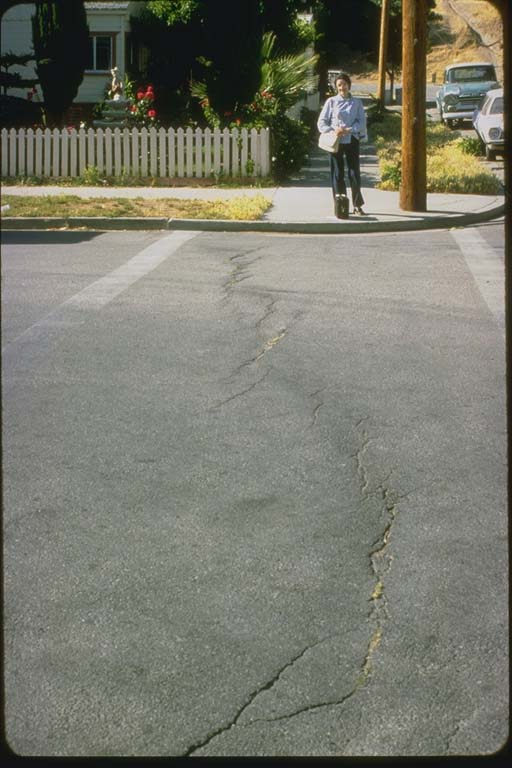 Fault trace crosses intersection