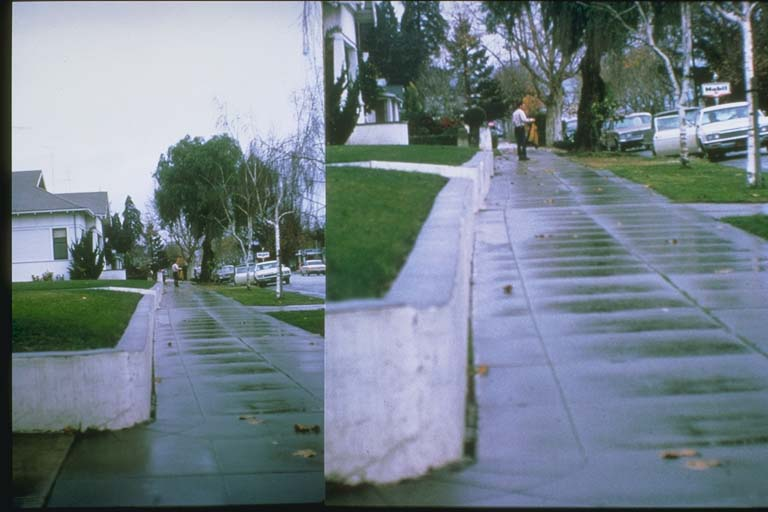 Two photos depicting same deformed curb in 1966 and 1992