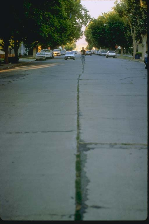 Offset of street's center line at fault trace