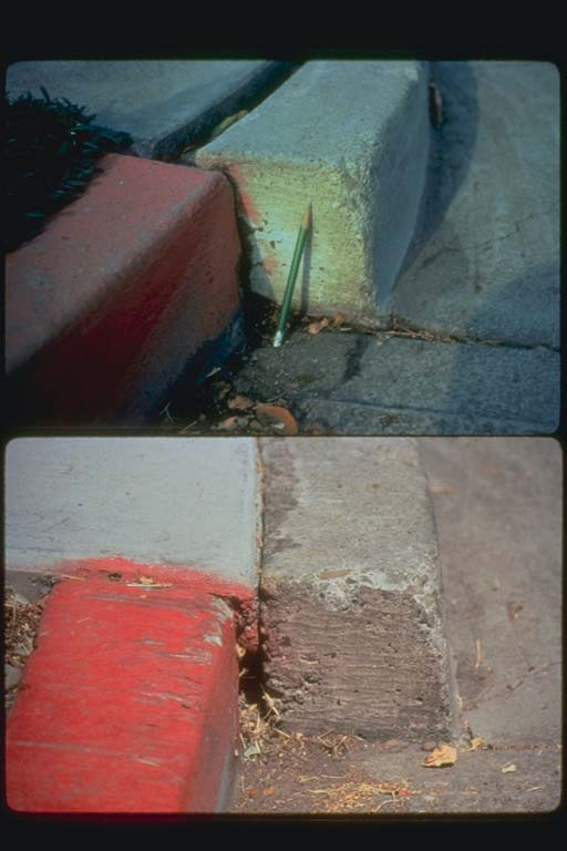Curb offset in 1974 and in 1993
