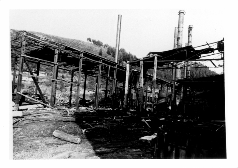 Damage to the warehouse at Corral after the tsunami