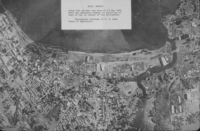 Aerial view of Hilo after the tsunami
