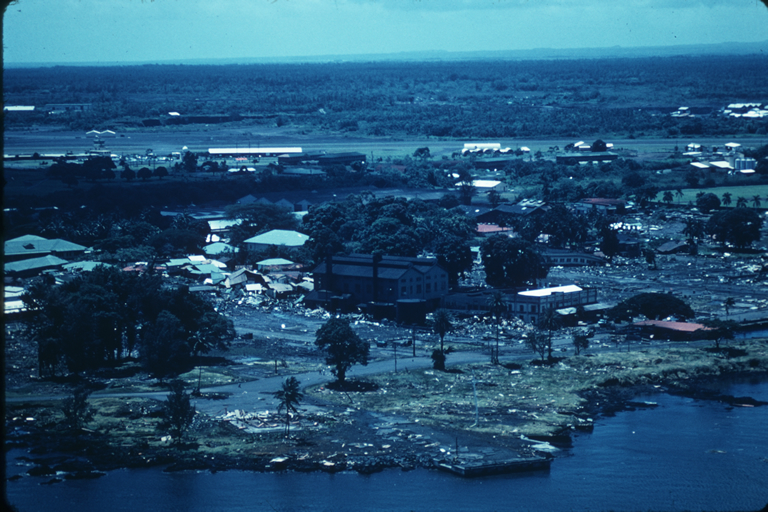 Aerial view of tsunami damage in Hilo