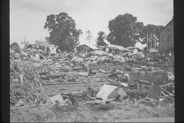 Rubble of frame houses in Hilo resulting from tsunami